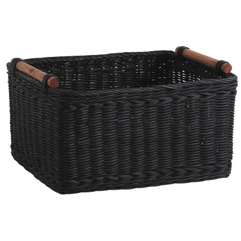 Wedding - Rustic Black Rattan Crate French Market Garden Trug Vegetable Storage Hamper Basket Wedding Table Centrepiece Venue Decoration Card Holder