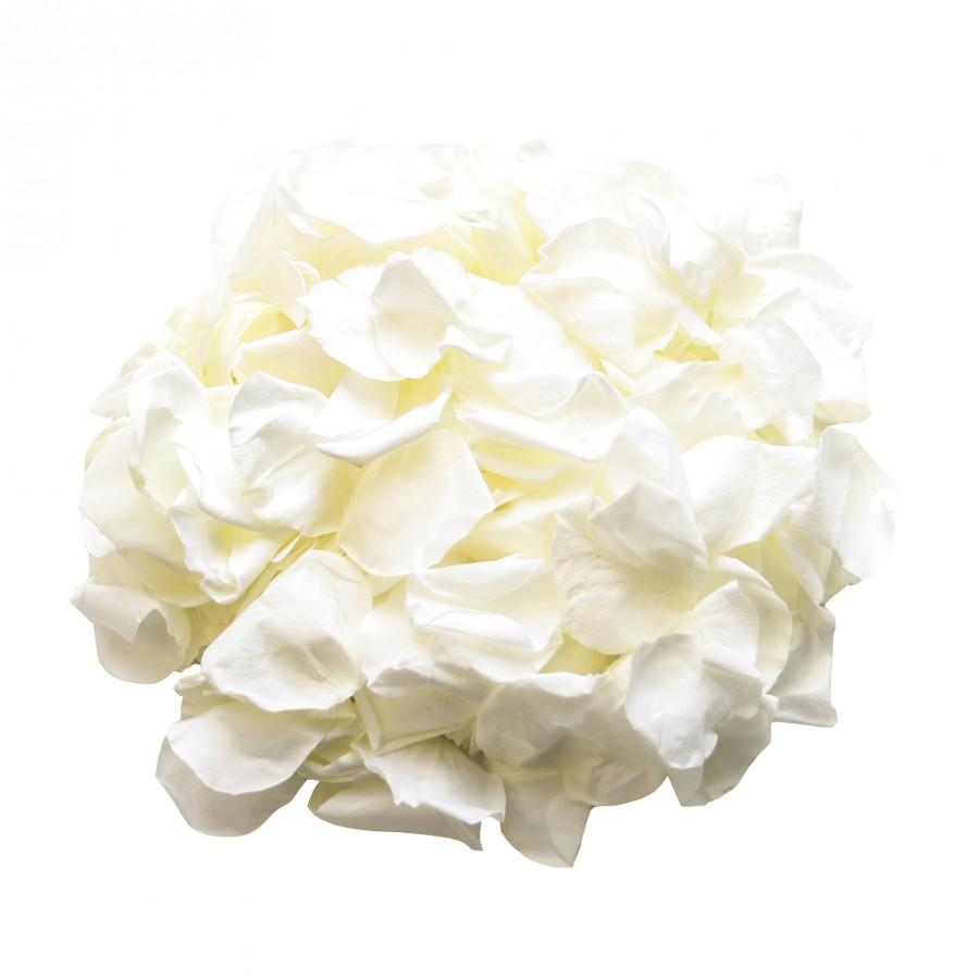 Mariage - Ivory rose petals for wedding confetti / decoration. Ivory preserved rose petals, biodegradable (Small size)