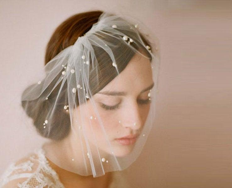 Свадьба - Pearl Birdcage Veil Bridal Bird Cage Wedding Tulle Bachelorette Accessory Headpiece Head Hair Piece Short Bride Gift Weddings Accessories