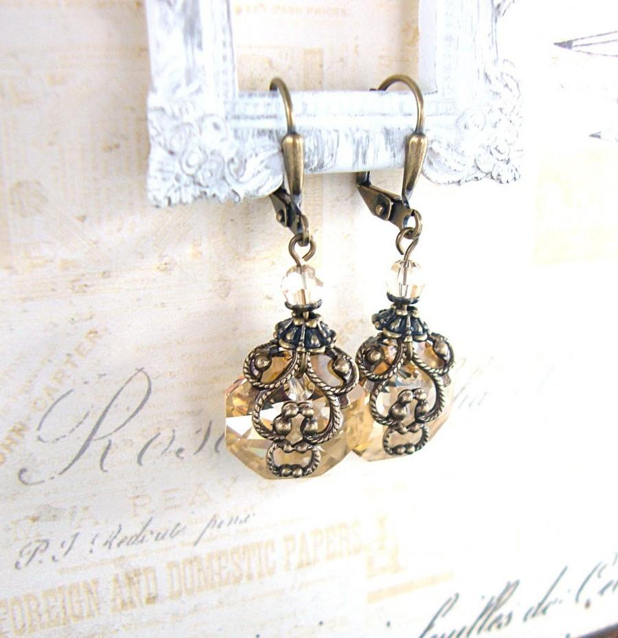 زفاف - Champagne Crystal Earrings - Neo Victorian Vintage Inspired Swarovski Crystal Bronze Golden Antiqued Brass Filigree Renaissance Jewelry