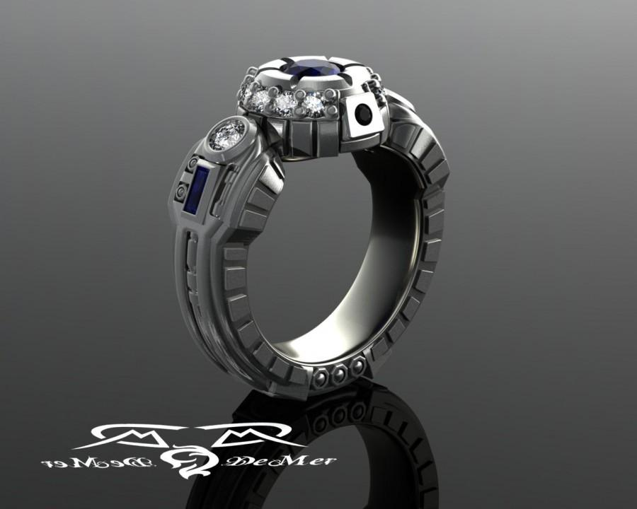 زفاف - R2D2 engagement ring in hypoallergenic grey gold with diamonds and very fine blue sapphires. The most durable Star Wars wedding ring in 14k