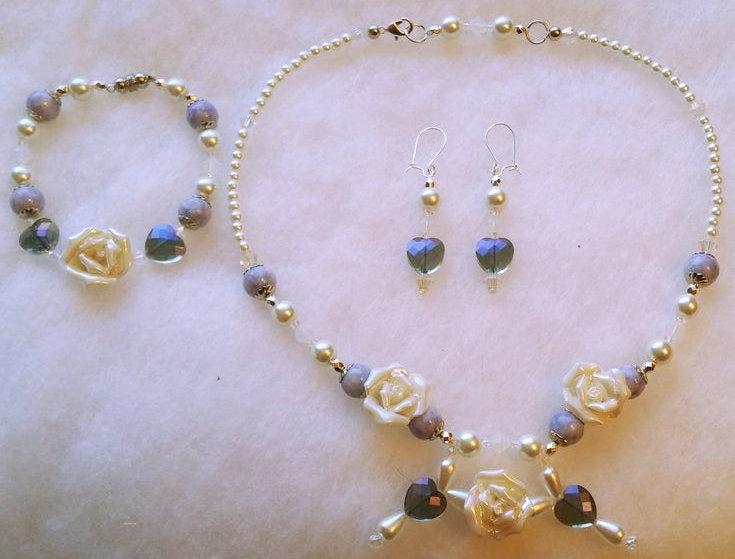 Wedding - Cream Rose & Lilac Boho Floral Beaded Necklace, Earrings and Bracelet Set, Bridal Gift set, Boho Wedding Jewelry