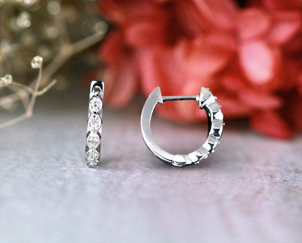 Свадьба - 12.5MM Marquise Dot Diamond Hoop Earrings