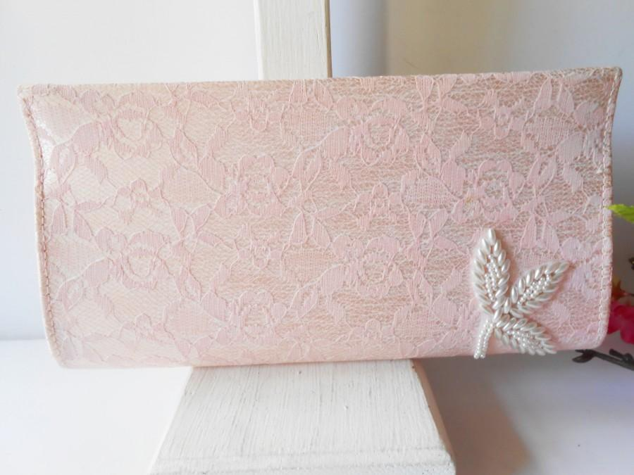 Mariage - Vintage Pink Lace Evening Bag, Romantic Lace Clutch Bag with Pearl Trim, Wedding Bridal EB-0574