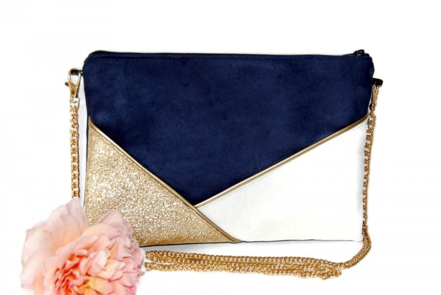 Свадьба - Wedding pouch, evening clutch, suede bag navy blue white gold sequins - After the Beach