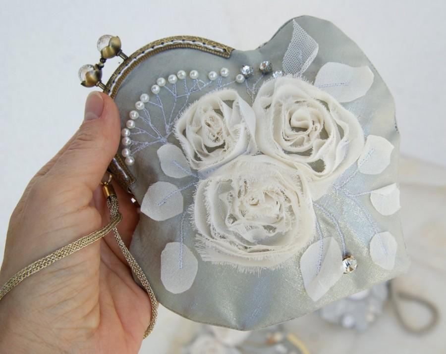Свадьба - Antique bridesmaid purse with silk ribbon hand embroidered victorian handbag coin purse silver vintage wedding evening bag heart wristlets