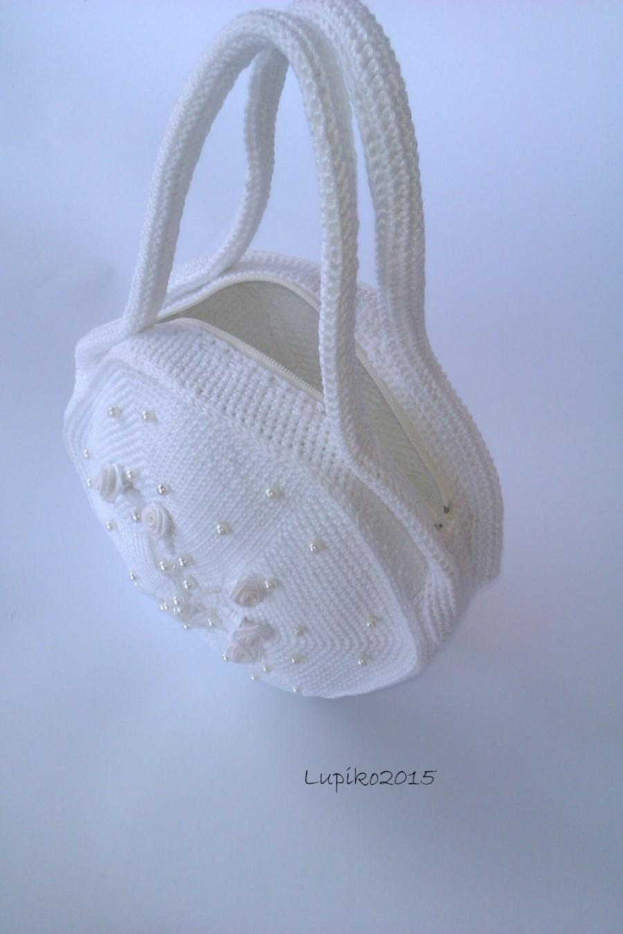 Hochzeit - Wedding bags , Wedding purse , Bridal purse , Bridal accessories , White cotton bag , Crochet Handbags , Wedding Handbags , Round Handbags