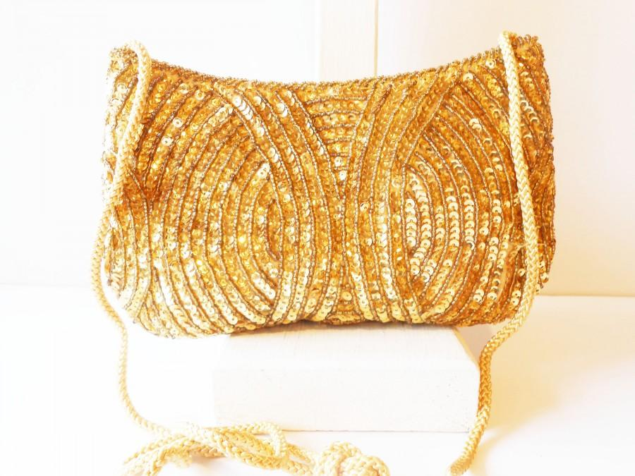 Mariage - Gold Beaded Bag, Beaded Clutch Bag, Cocktail Purse, Sequin Evening Bag, Party Bag, Gold Bead Clutch EB-0449