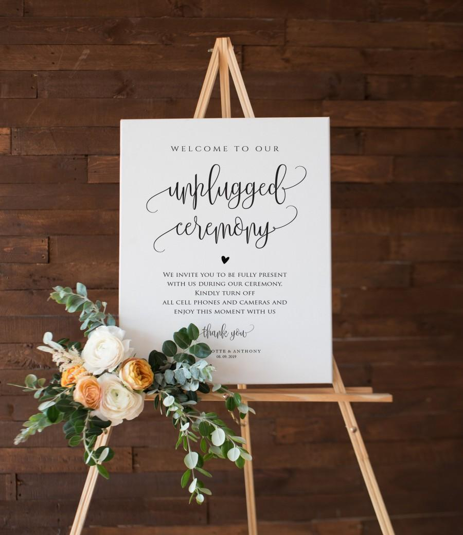 Wedding - Unplugged Ceremony Sign, Wedding Unplugged Poster Sign Template, Printable Wedding Sign, 5 Sizes, Edit with TEMPLETT, WLP-ELE 1148