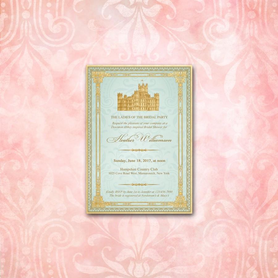 Wedding - Downton Abbey Invitation  / Aqua & Gold / Highclere Castle / Tea Party Birthday Bridal or Baby Shower Anniversary Victorian Edwardian Rococo