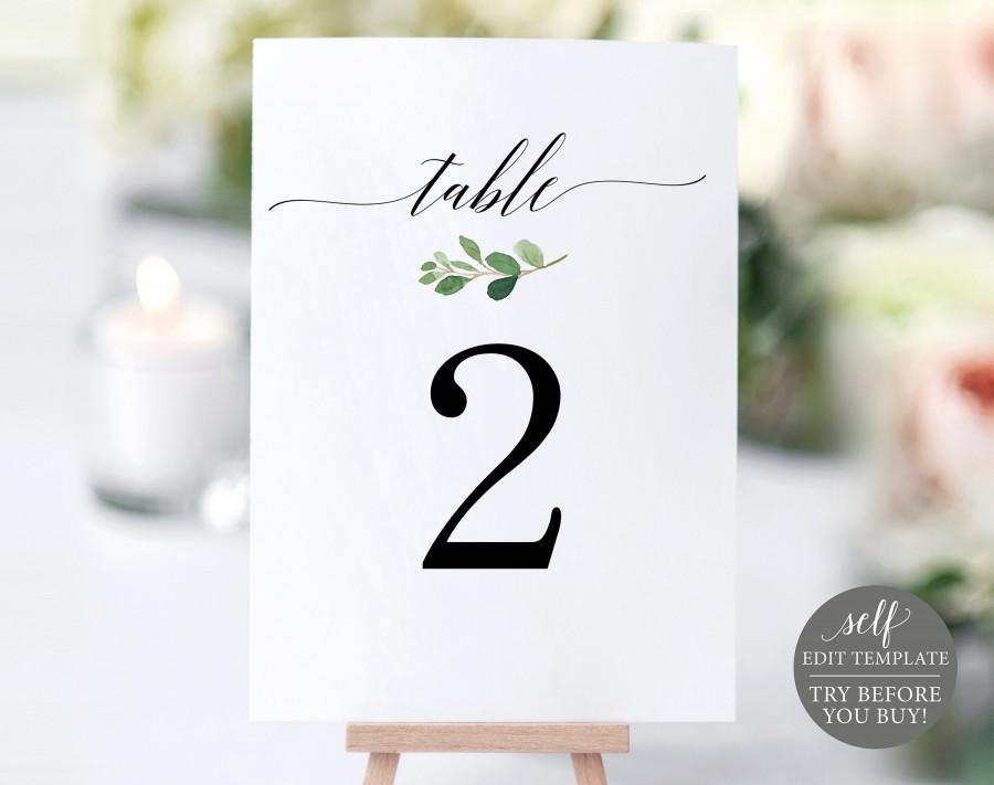 Wedding - Greenery Table Number Template, TRY BEFORE You BUY, 100% Editable Template, Wedding Table Numbers Printable, Instant Download
