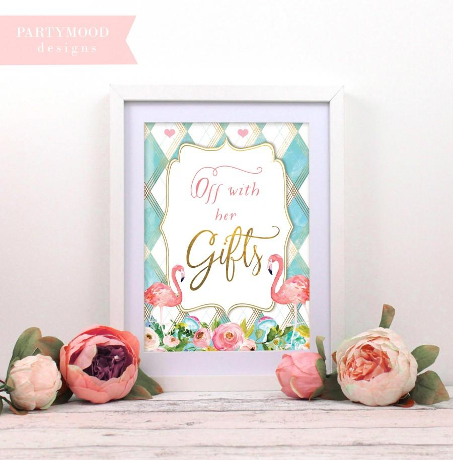 Свадьба - Alice In Wonderland Off With her Gifts Signs, Decor Onederland Girl's 1st Birthday Party Invitation, Mad Tea Party, Alice Theme Decor