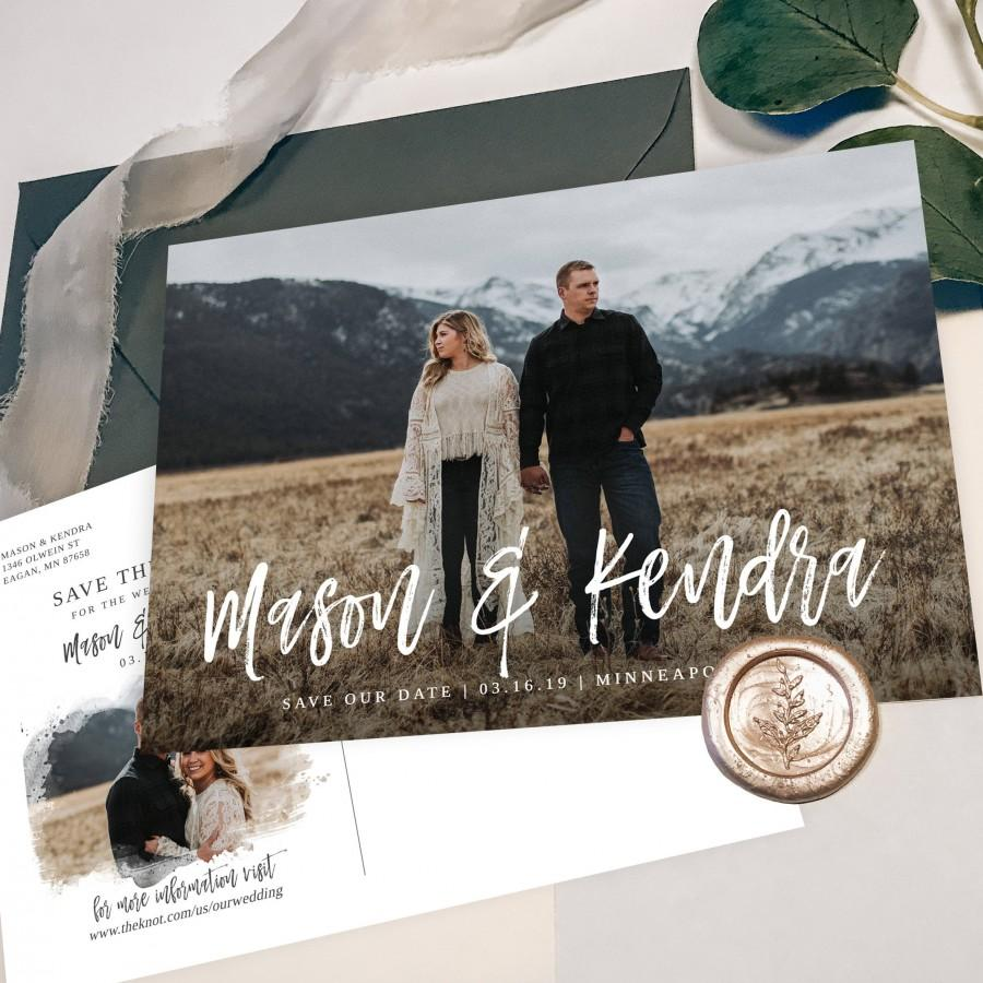 Hochzeit - Save the Date Template with Photo Printable Save the Date Card Photo Save the Dates Templett Editable Save the Date with Pictures S032