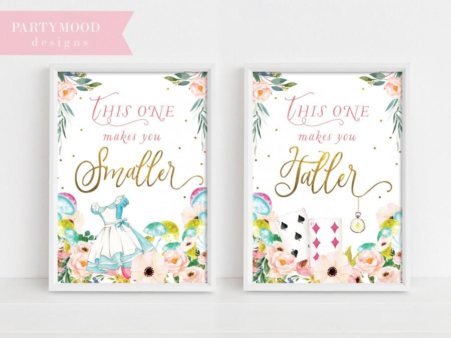 Hochzeit - Alice In Wonderland Party Signs, Smaller Taller Party Sign, Decor Onederland Girl's 1st Birthday Party Invitation, Mad Tea Party, Decoration