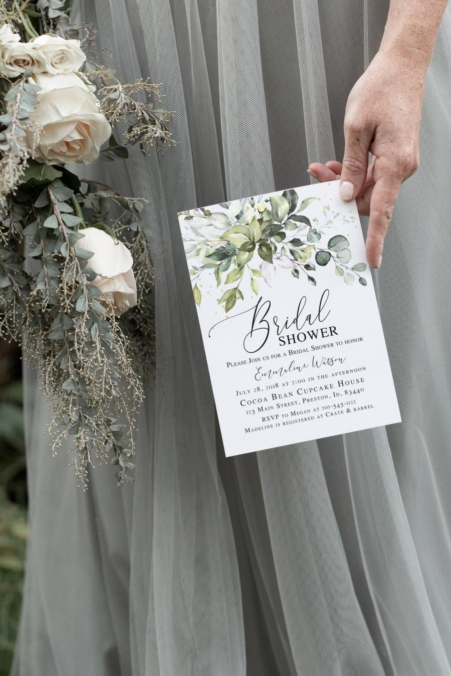 Wedding - Greenery Bridal Shower Invitation, Bridal Shower Invite Template, Instant Download DIY Printable Editable Wedding Card  LDC-HER