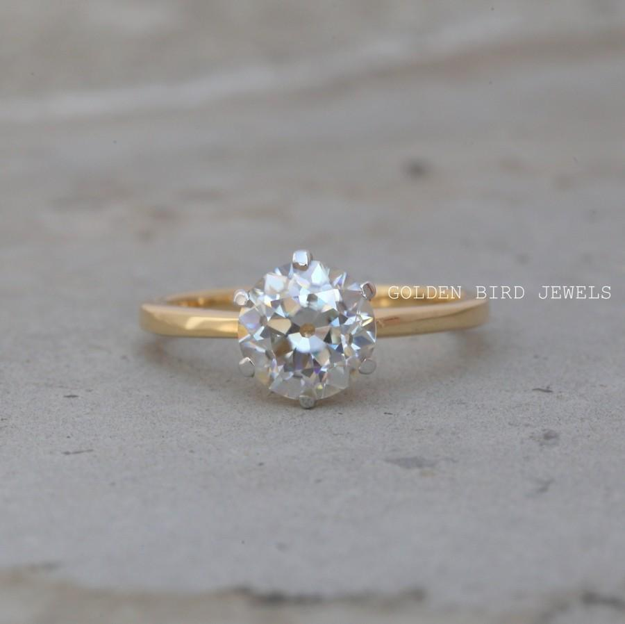 Mariage - OEC Round Moissanite Ring / 1.50 CT Near Colorless Solitaire diamond Engagement Rings / Unique Yellow Gold Solitaire Rings / Rings For Women