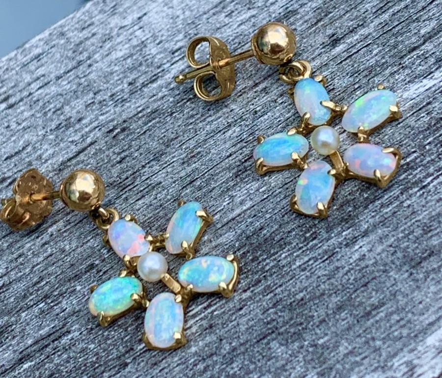 Mariage - Blue Opal Earrings 14K Gold Natural Fiery Australian Opal Earrings in 14k Yellow Gold Filigree Rainbow Fire Opal Jewelry Wife Pierced Ears