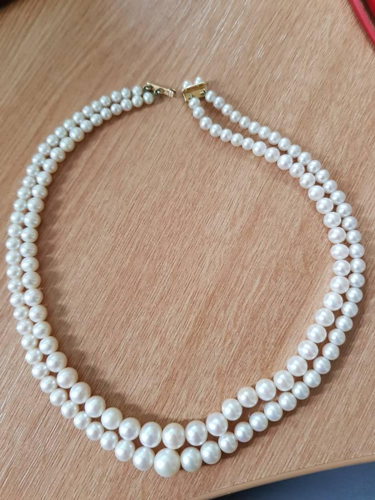 Wedding - Stunning Audrey Hepburn inspired Pearl Necklace - Double Strand