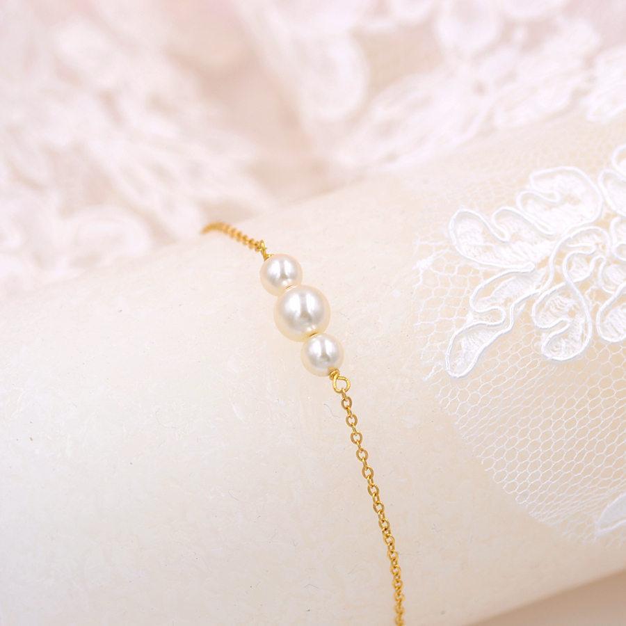 Mariage - Pearl Bridal Bracelet, rose gold, Camillia, Bridal Bracelet, Beads Cubic Wedding Bracelet, Bridesmaid Bracelet, Silver bracelet, Mariée
