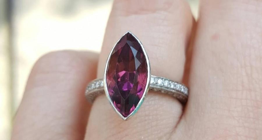 Wedding - Pink Tourmaline and IF Diamond Engagement Cocktail Ring