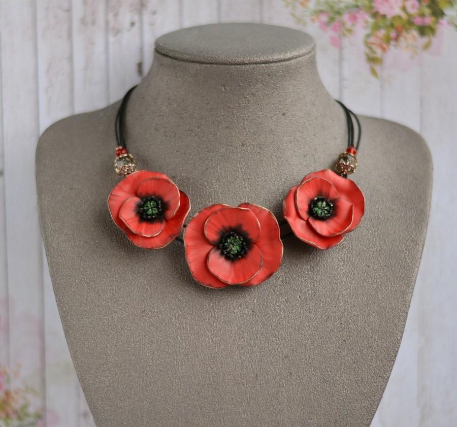 Wedding - Red Poppy Necklace, Statement poppies necklace, Poppy jewelry, Red flower necklace, Red poppies Poppy wedding necklace Remembrance day poppy