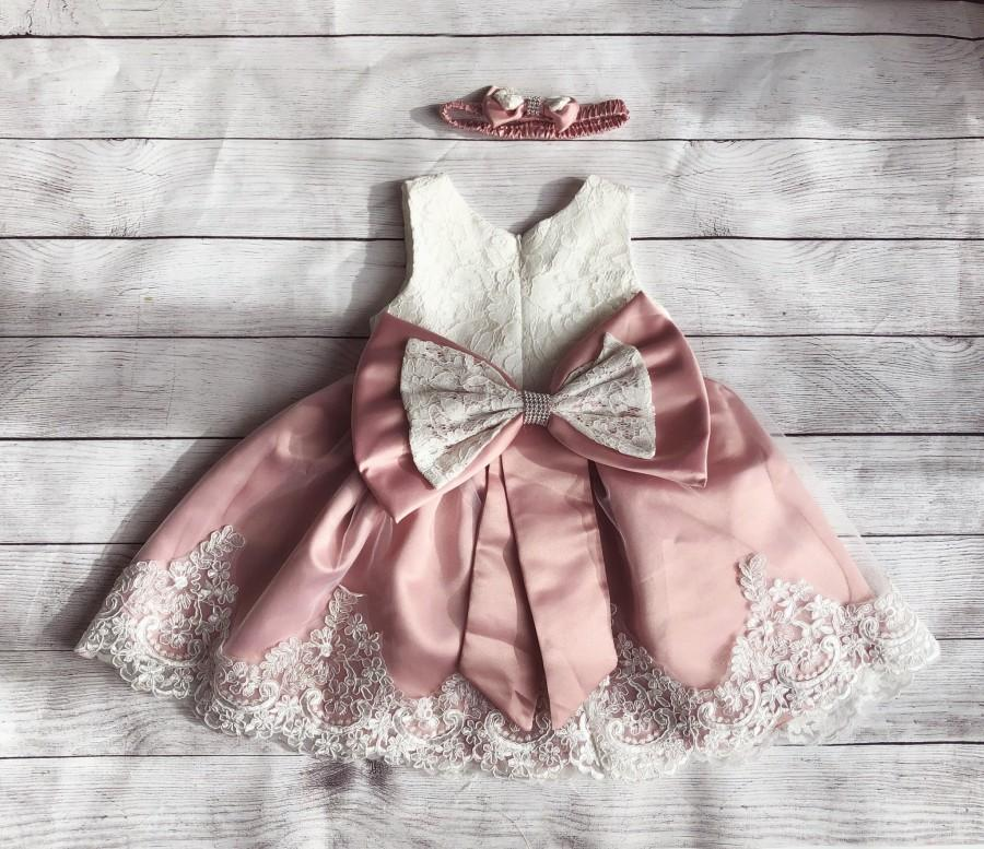Свадьба - Dusty pink flower girl dress,  lace  top,Baby  toddler dress,tulle  lace dress girl dress, 1ers birthday, 12 months