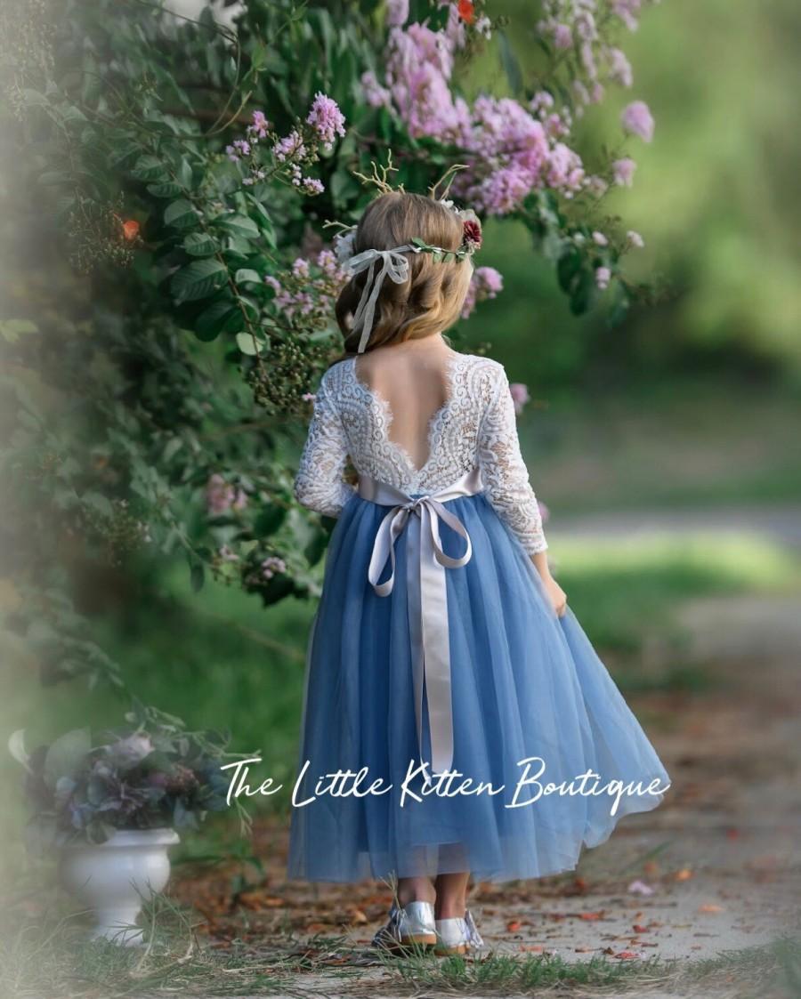 Свадьба - tulle flower girl dress, rustic lace flower girl dresses, long sleeve flower girl dresses, boho flower girl dress, ivory flower girl dress