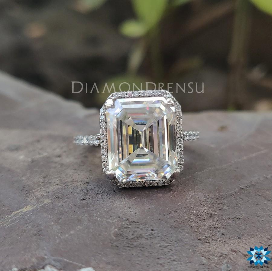 Mariage - Emerald Under Halo Engagement Ring