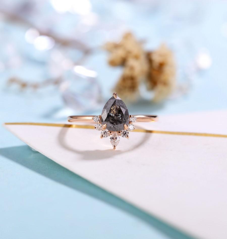 Wedding - Salt and Pepper Diamond Engagement Ring Women Rose Gold