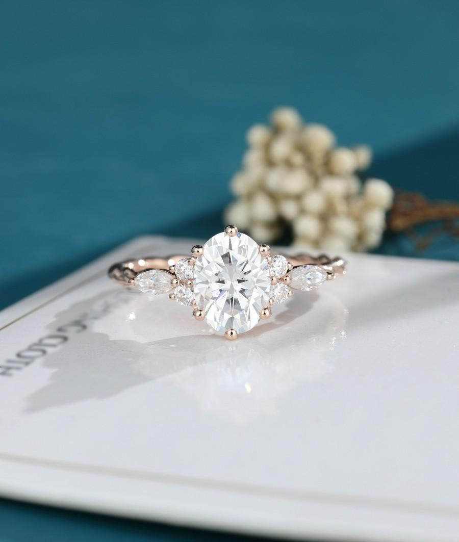 Mariage - Moissanite engagement ring oval shaped engagement ring Solid rose gold  engagement Twisted ring Bridal Dainty promise engagement ring