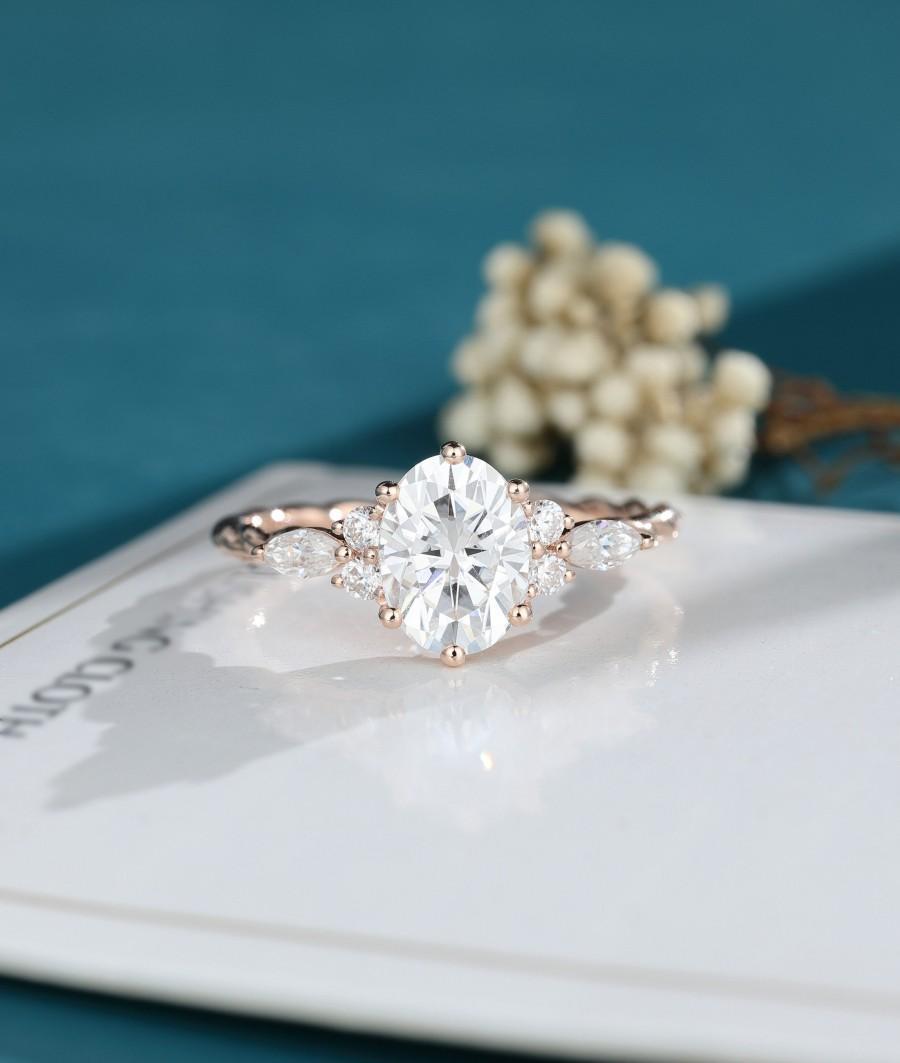 Wedding - Moissanite engagement ring oval shaped engagement ring Solid rose gold  engagement Twisted ring Bridal Dainty promise engagement ring