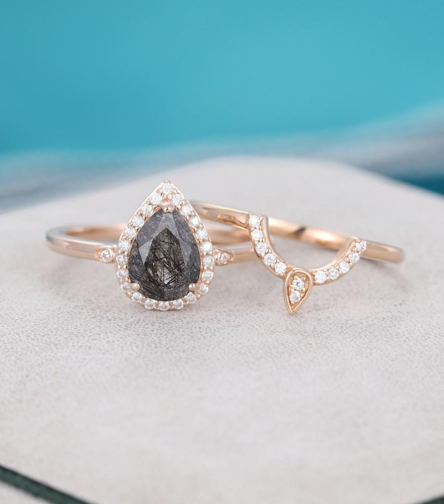زفاف - 2Pcs Pear shaped Black Rutilated Quartz engagement ring Rose gold vintage engagement ring Unique Halo Diamond wedding Bridal set