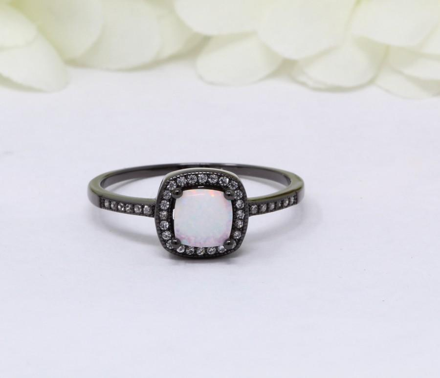 Свадьба - Halo Ring Black Gold Solid 925 Sterling Silver Princess Cut Lab White Opal Round Simulated Diamond CZ Accent