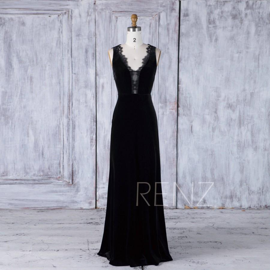 Wedding - Black Velvet Bridesmaid Dress Wedding Dress Illusion Lace V Neck Party Dress Mother of Bride Dress Sleeveless A Line Evening Dress(HV425)