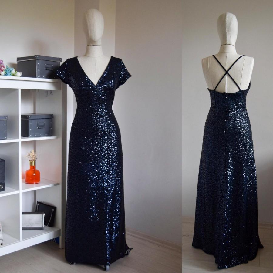 Свадьба - Made To Measure Sequin Navy Blue Bridesmaid Dress, Wedding Reception, Navy Blue Sequin Flattering sparkle Bridesmaid Dress