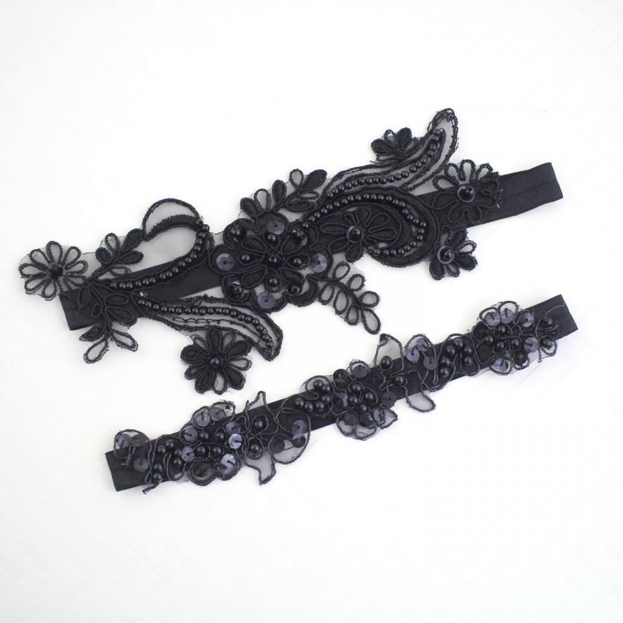 زفاف - Black Beaded Lace Garter Set, Bridal Black Garter, Wedding Black Garter, Prom Garter Belt, Black  Wedding Garter, Black Toss Garter