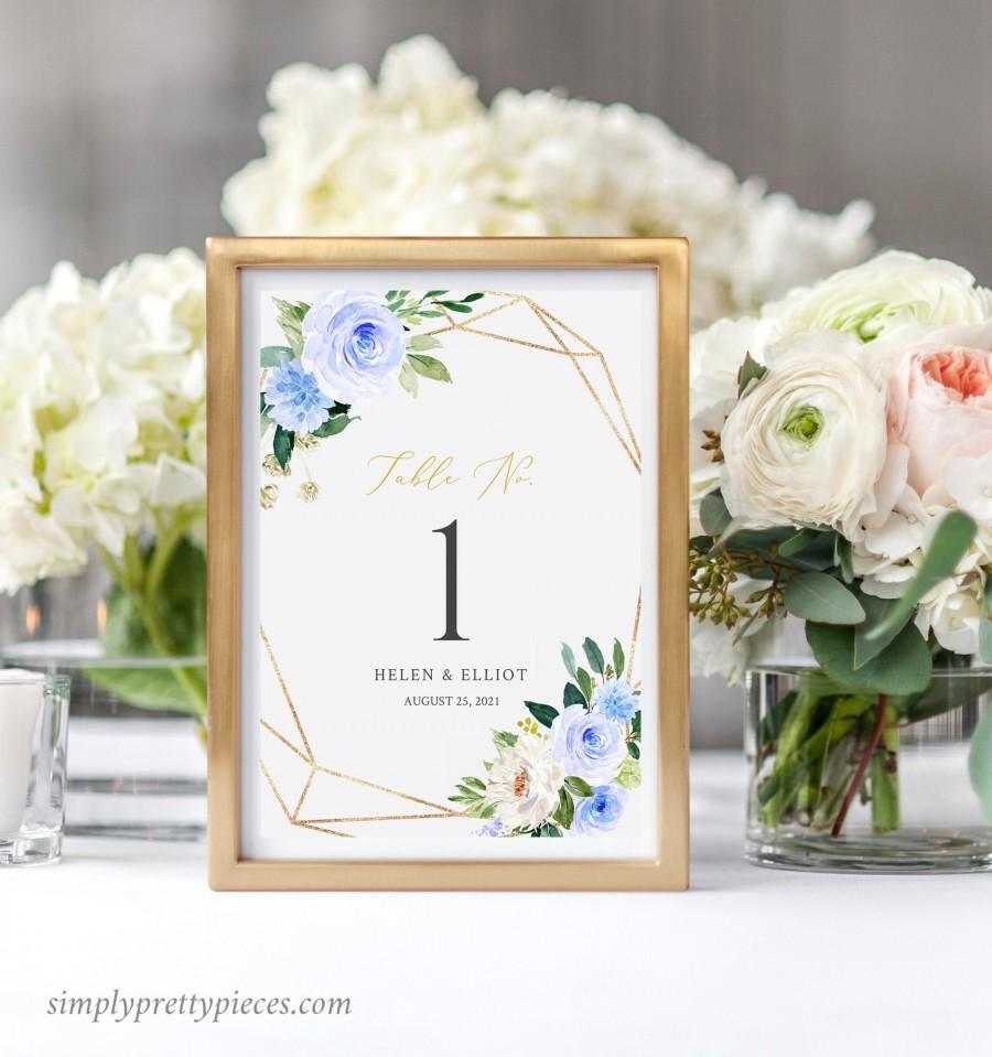 Свадьба - Blue Gold Geometric Editable Table Numbers, Printable Blue Floral Wedding Table Numbers, DIY Template, Instant Download, Templett, 548-A
