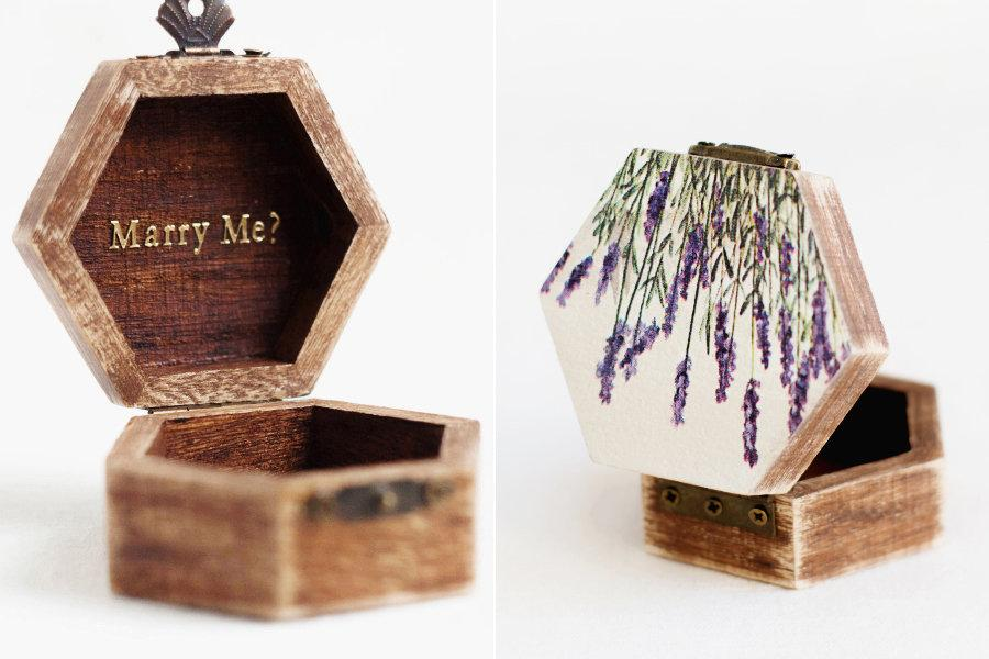 Свадьба - Engagement Ring Box, Proposal Ring Box, Lavender Ring Box, Boho Ring Box, Geometric Ring Bearer, Ring Holder, Box With Moss, Marry Me Box