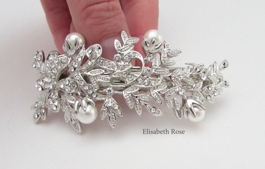 Свадьба - White Pearl Bridal Hair Barrette, Crystal and Pearl Hair Clip for Bride, Wedding Day Hair Barrette, Leaf Bridal Pearl Hair Clip