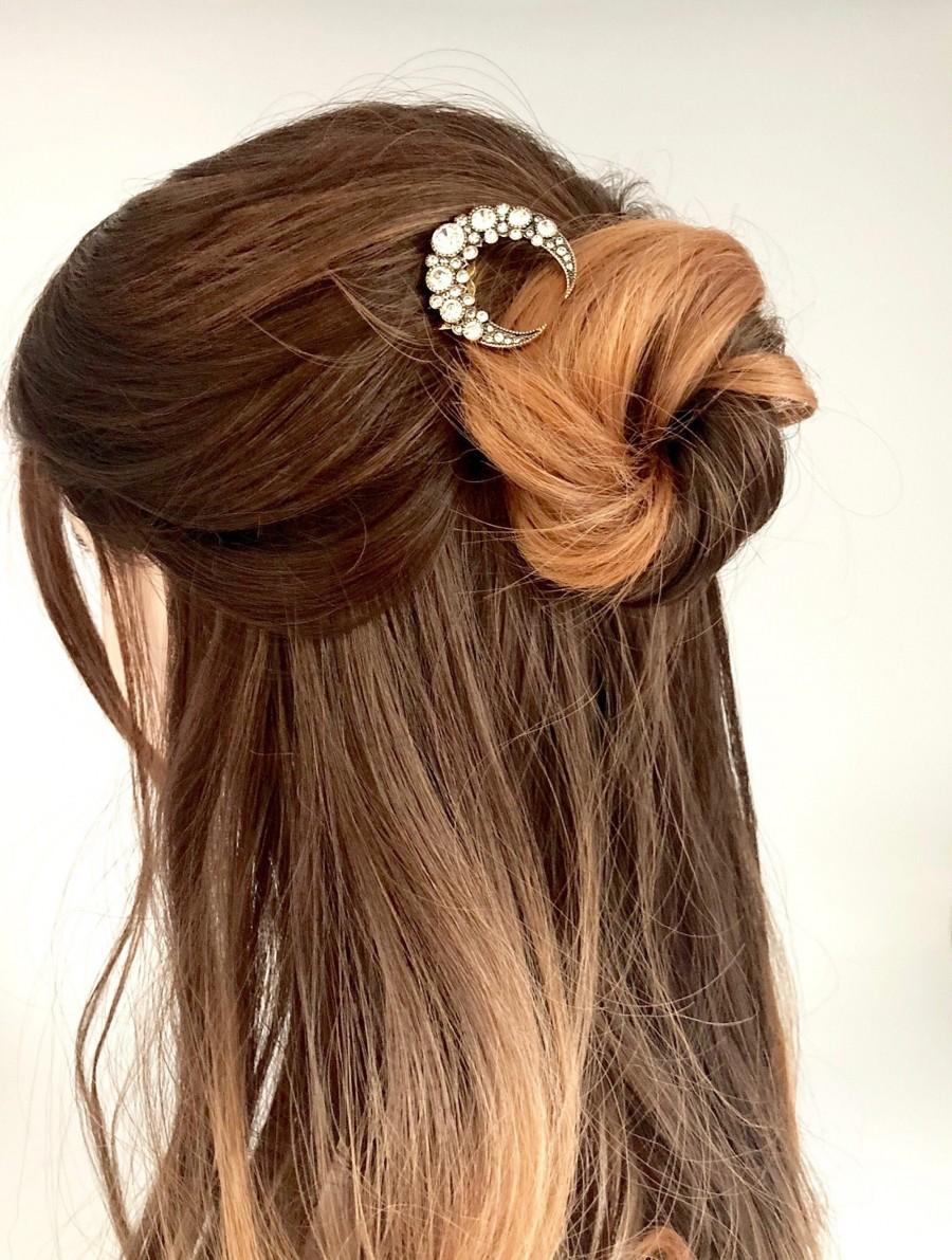 Свадьба - Moon Hair Comb, Vintage Hair Comb, Crystal Moon Headpiece, Celestial Bridal Hair Comb, Gold Moon Star Hair Clip, Star Wedding Moon Hair Clip