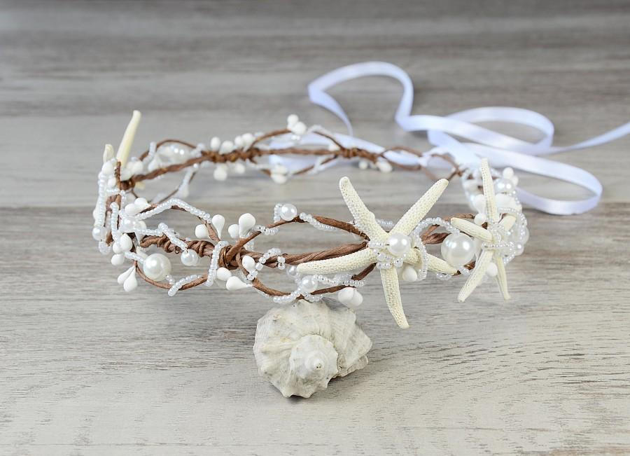 Свадьба - Beach Wedding Seashell Headband, Mermaid Tiara, Sea shell Crown, Starfish Tiara, Hair Accessories, Shell Headpiece