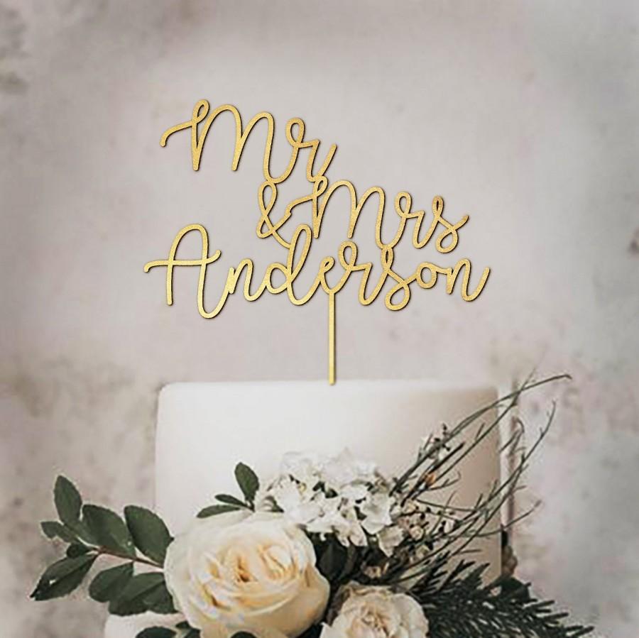 Свадьба - Gold Mr & Mrs Wedding Cake Topper - Personalized Cake Topper Anniversary - Custom Wedding Cake Topper Personalized