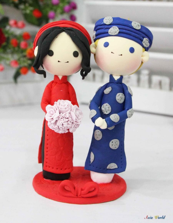 Свадьба - Vietnam wedding cake topper, traditional Ao dai wedding costume