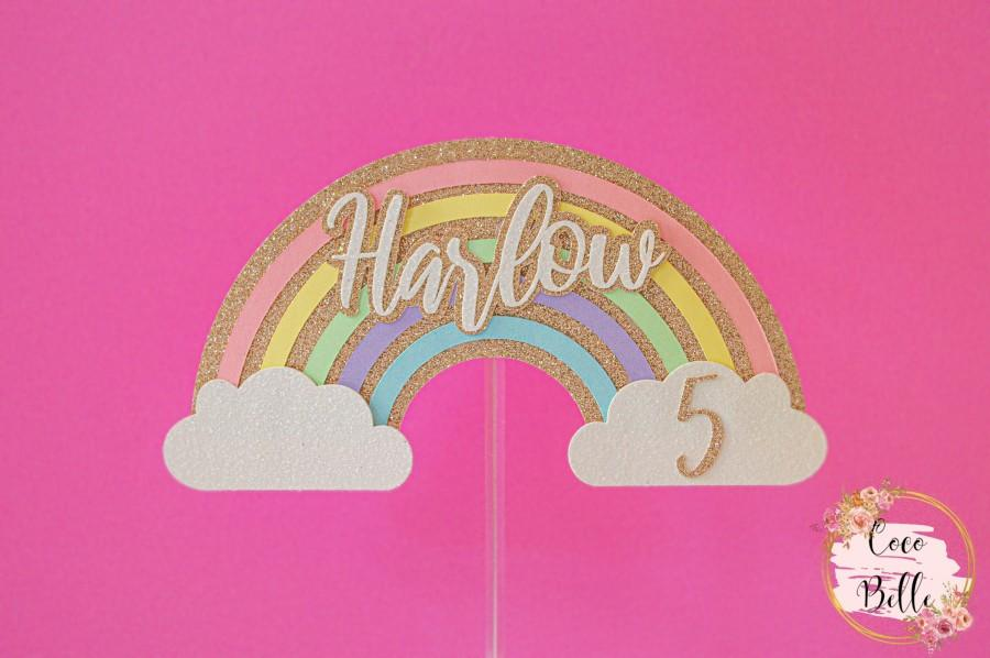Свадьба - Rainbow cake topper, personalised name and age, cloud pastel party theme unicorn baby shower 1st birthday