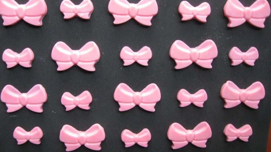 Свадьба - Pink Edible Bows, Edible Bows, Pink Fondant Bows, Pink Candy Bow, Pink Cake Bows-Pink Bow Cake Toppers