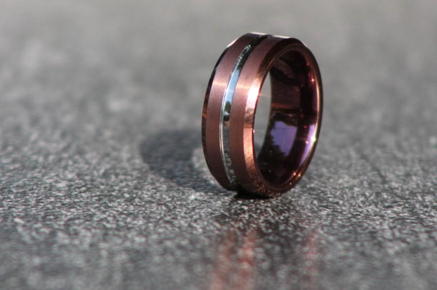Mariage - Tungsten Ring Man, Red Bronze & Chrome Silver, Wedding Ring, Band, Engagement, Wedding, Anniversary, Friendship, Ring Man, Tungsten Man Ring