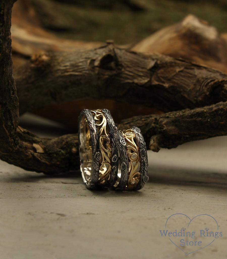 Mariage - Diamond and vine His and Her tree wedding bands set, Tree rings set, Unique couple bands, Vintage style bands, Diamonds wedding bands