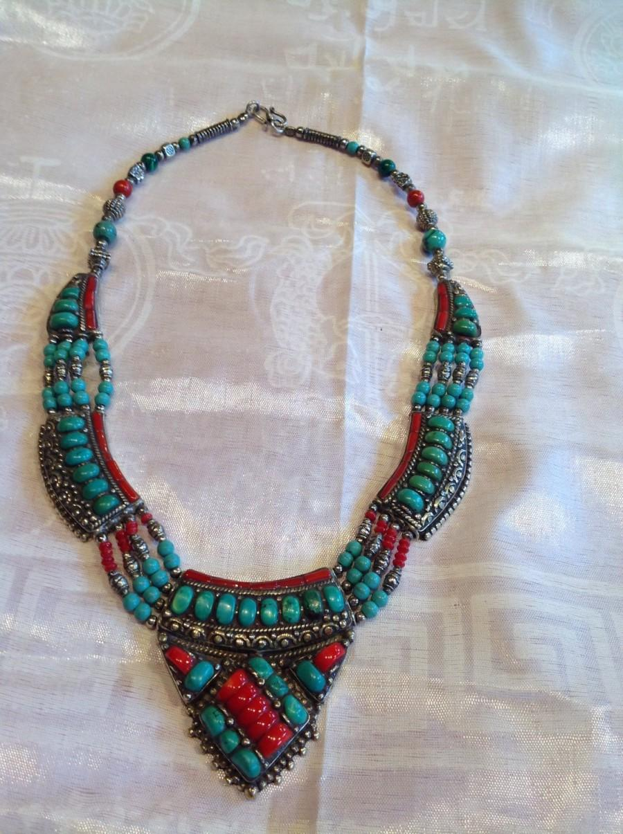 Свадьба - One of a kind-Tibetan Turquoise- Afghanistan Red Coral-Silver Necklace and Bracelet Set