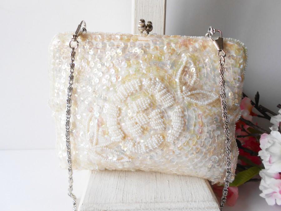 Свадьба - Glamorous White Wedding Purse, White Beaded Evening Bag, Vintage Wedding Purse EB-0220