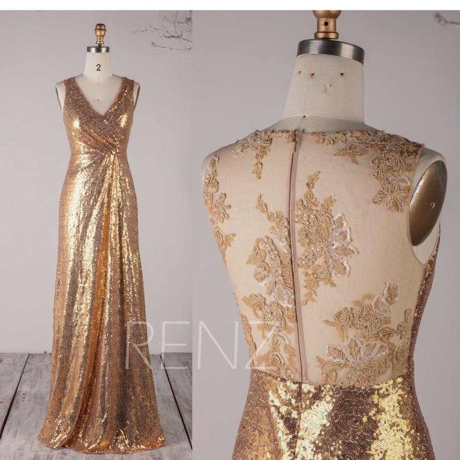 Wedding - Prom Dress Gold Sequin Bridesmaid Dress Ruched V Neck Wedding Dress Illusion Lace Full Back Fitted Maxi Dress Sleeveless Eveing Dress(HQ603)